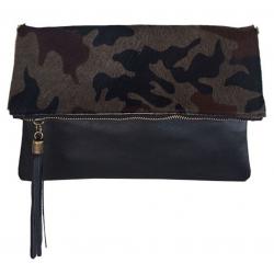 Pochette bandoulière imprimé camouflage en cuir, Siena