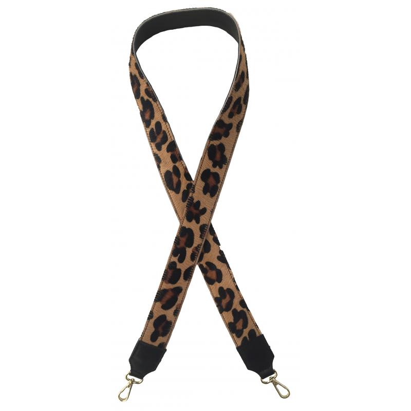 Bandoulière réversible cuir imprimé léopard, Made in Italy