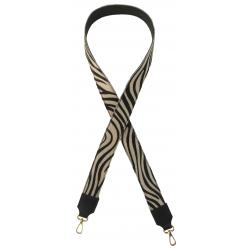 Bandoulière réversible cuir imprimé zebre, Made in Italy
