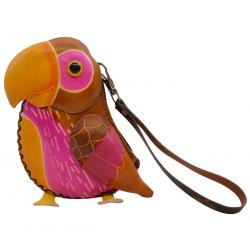 Porte-monnaie perroquet en cuir - FR-FIR04-perroquet